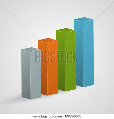 Financial Colorful Bar Graph Icon. Vector Illustration.