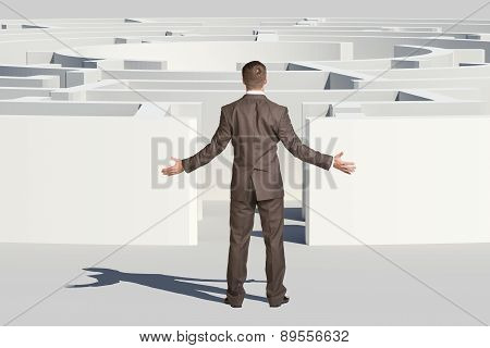 Businessman throwing up his hands