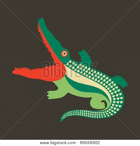 Colorful crocodile with open mouth.