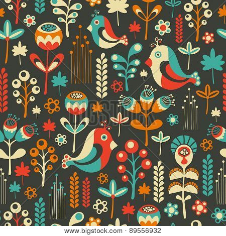 Colorful seamless pattern with happy birds and flowers.