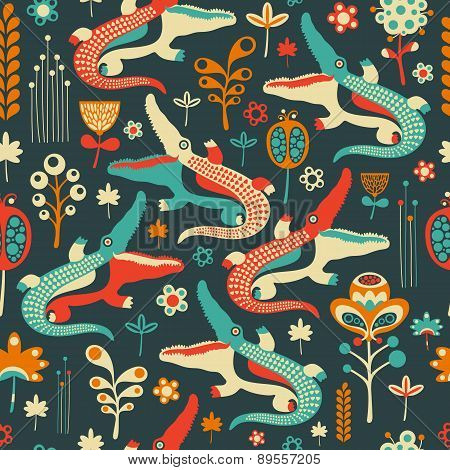 Colorful seamless pattern with merry crocodiles and flowers.