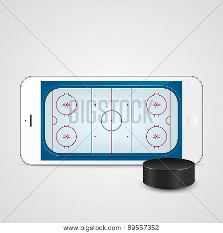 White Smartphone With Ice Hockey Puck And Field On The Screen.