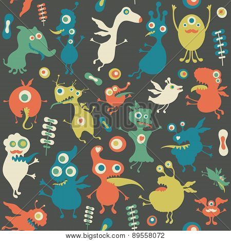 Retro seamless pattern with monsters and flowers.