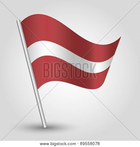 Vector Waving Simple Triangle Latvian  Flag On Pole - National Symbol Of Latvia