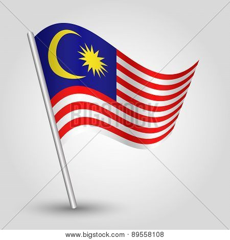 Vector Waving Simple Triangle Malaysian Flag On Pole - National Symbol Of Malaysia