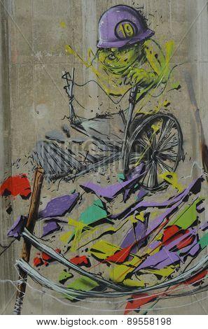 KIEV, UKRAINE - MAY 2, 2015: Colored background.Graffiti on a wall.May 2, 2015 Kiev, Ukraine