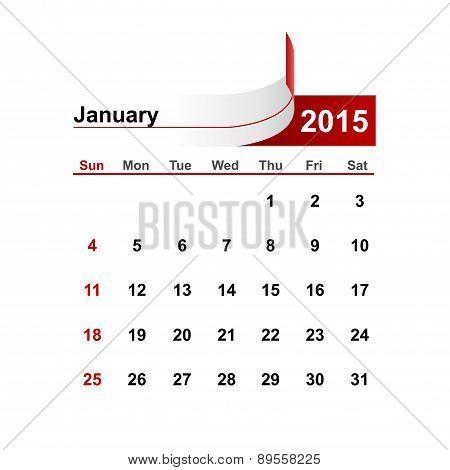 Vector Simple Calendar 2015 Year January Month.