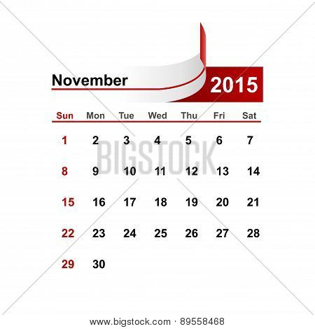 Vector Simple Calendar 2015 Year November Month.