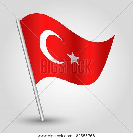 Vector Waving Simple Triangle Turkish Flag On Pole - National Symbol Of Turkey