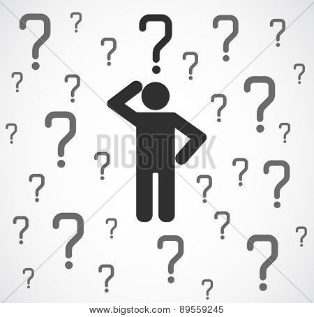 icon person with question mark concept background