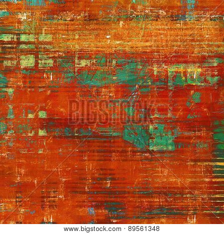 Old abstract grunge background, aged retro texture. With different color patterns: brown; cyan; green; red (orange)