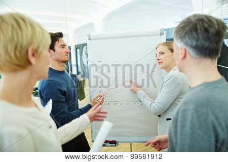 Business team looking at graph on flipchart in a meeting
