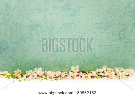 Abstract Spring Border Background With Blossom