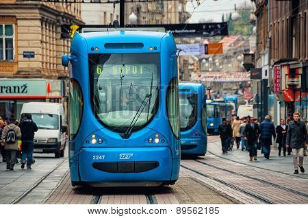 Zagreb, Croatia Blue Tram At The Street