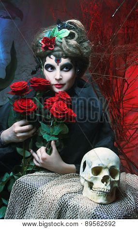Woman with roses and skull