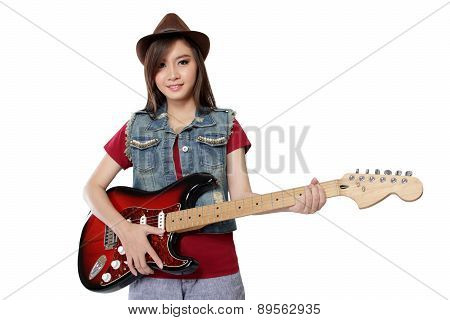 Pretty Asian Girl Posing With Her Guitar, On White Background