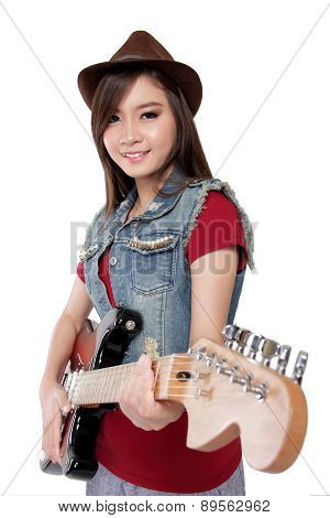 Pretty Asian Guitarist Girl Smiles At Camera, On White Background