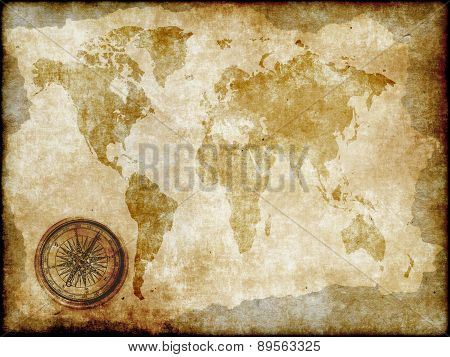 Compass With Vintage Map