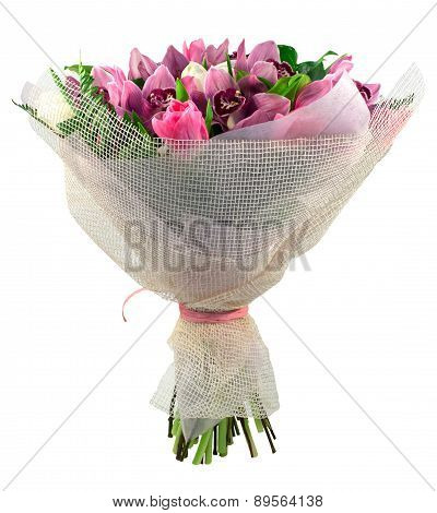 Bouquet Of Orchid And Tulips