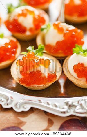 canape with caviar