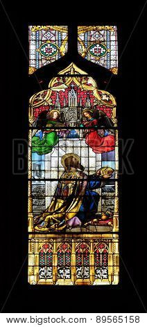 ZAGREB, CROATIA - APRIL 04: Saint Stephen of Hungary, stained glass in Zagreb cathedral dedicated to the Assumption of Mary and to kings Saint Stephen and Saint Ladislaus in Zagreb on April 04, 2015