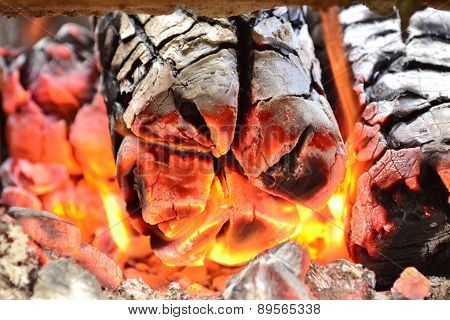 Flames. Burning Wood In The Fireplace