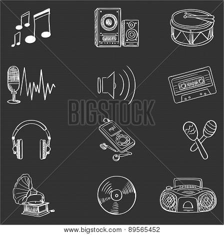 Hand drawn music icon set