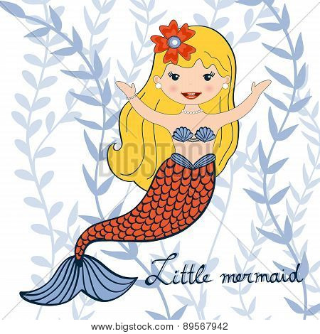 Illustration of a beautiful little mermaid