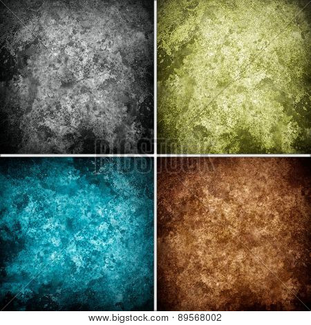 collection set of grunge wall background