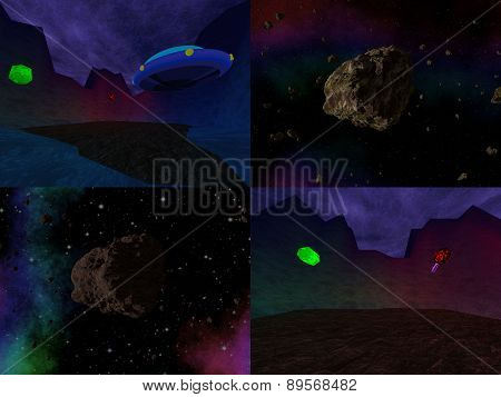 Set of cosmos scenery