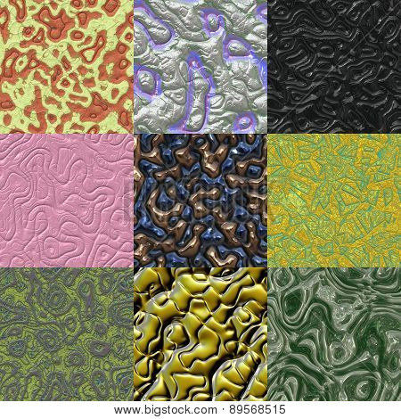 Set of Metal Bumps Seamless Generated Texture