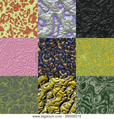 Set of Metal Bumps Seamless Generated Texture