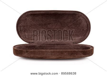A Opened Leather Sunglasses And Glasses Case On White Background