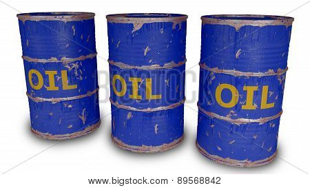 blue oil barrels isolated on white
