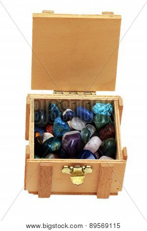 Open Treasure Chest With Jewelry Isolated