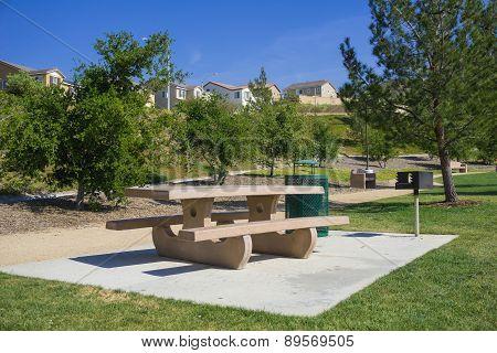 Picnic Table In Suburban Park