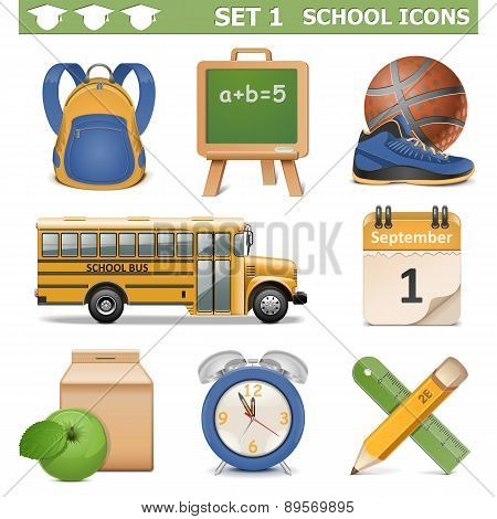 Vector School Icons Set 1