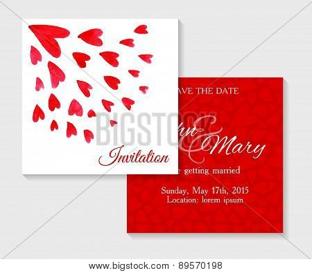 Vector invitation cards with watercolor elements