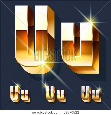Vector set of gold shiny 3D alphabet. Letter U