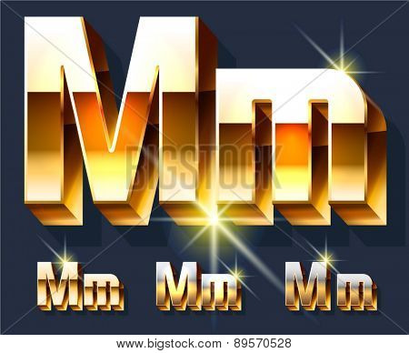 Vector set of gold shiny 3D alphabet. Letter M