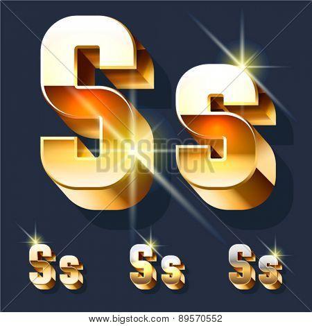 Vector set of gold shiny 3D alphabet. Letter S