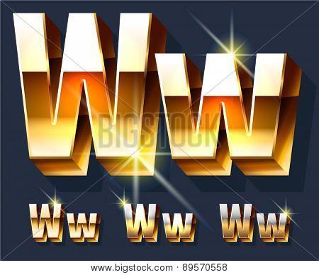 Vector set of gold shiny 3D alphabet. Letter W