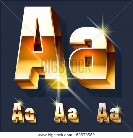 Vector set of gold shiny 3D alphabet. Letter A