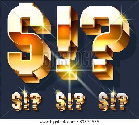 Vector set of gold shiny 3D alphabet. Symbols
