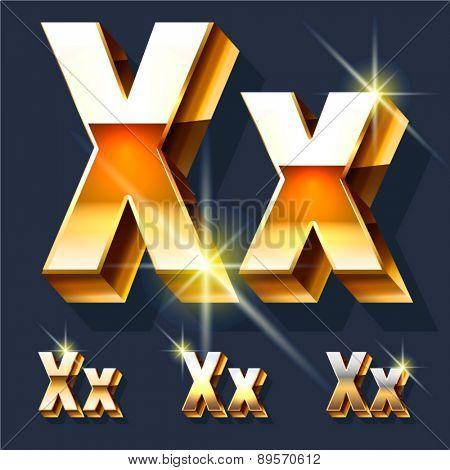 Vector set of gold shiny 3D alphabet. Letter X
