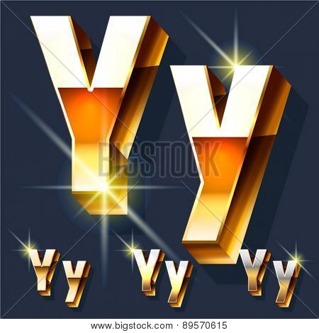 Vector set of gold shiny 3D alphabet. Letter Y