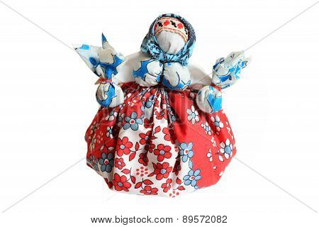 Ukrainian Traditional Motanka Doll Isolated On White