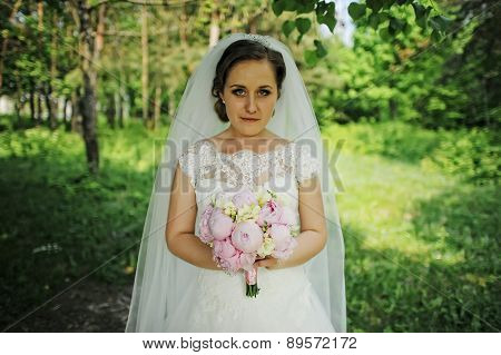 Bride With Bouqet Looking