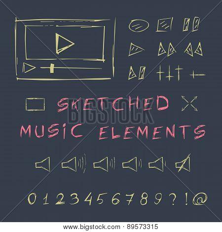 Doodle hand drawn music elements set, sketch design.