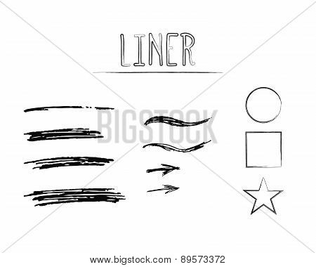 Set of Hand Drawn Doodle Sketchy Grunge Liner Brush Lines. Unusual design elements for your projects